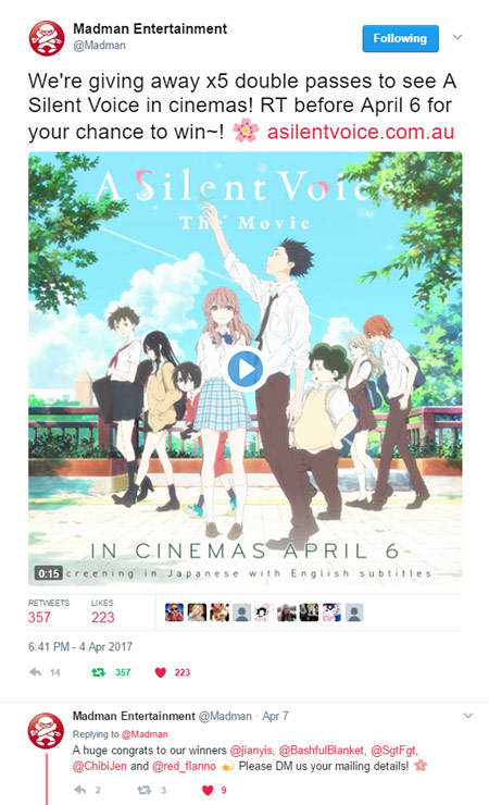 A Silent Voice Movie Pass Madman Competition