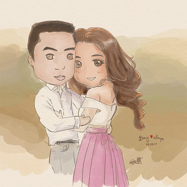 Dong & Somps Wedding Chibi Painting
